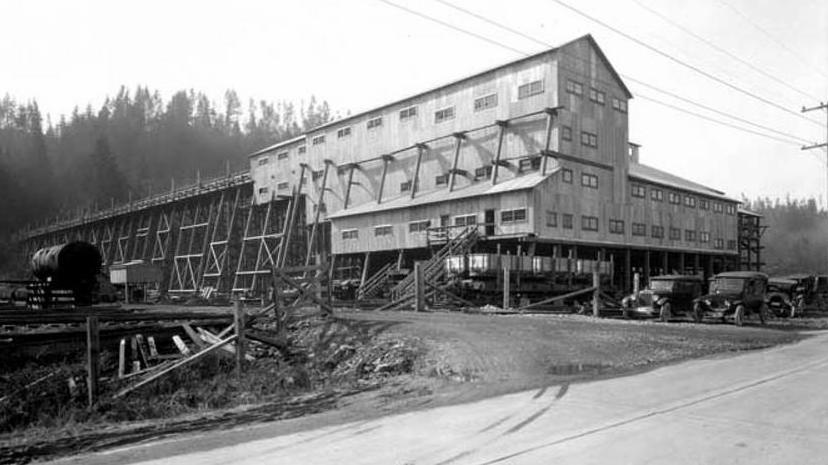 black & white photo of the bunkers of the men who worked on the New Black Diamond (or Indian) Mine in southeast King County, WA, USA.