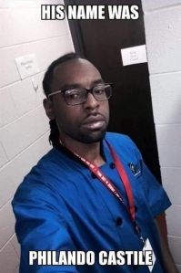 "Image of Philando Castile in his work uniform. Text: ""His name was Philando Castile."""